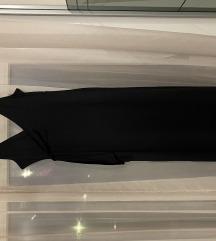 Crna uska haljina s V izrezom