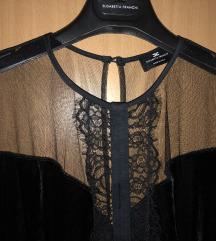 Elisabetta Franchi midi crna haljina pliš vel. 38