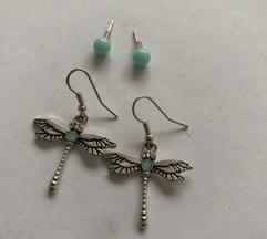 Visece dragonfly nausnice i male plave