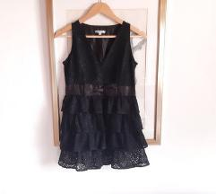 Crna haljina/tunika, cipka, volani, masna😊