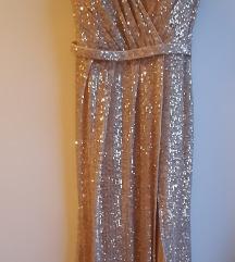Nova zlatna šljokičasta svečana haljina