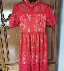 Crvena čipkana haljina Gracija SNIŽENJE