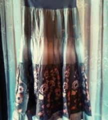 High waist maslinasta maxi suknja