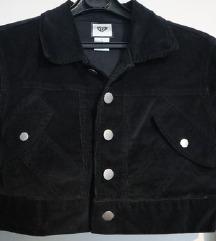 Crni kratki kaput bolero samt veličina S