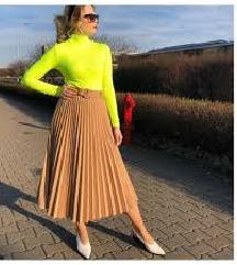 Zara bež plisirana suknja