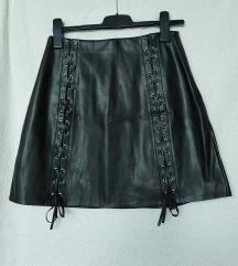 MANGO Crna kožna suknja