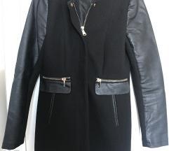AMISU kaput s kožnim rukavima