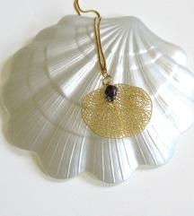 Mjedena ogrlica s riječnim antracit biserom