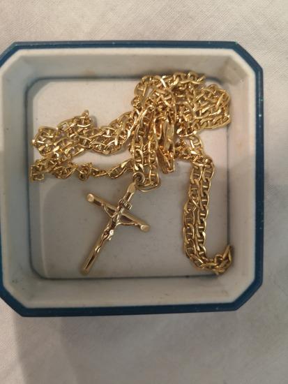 Zlatna ogrlica s križem 585
