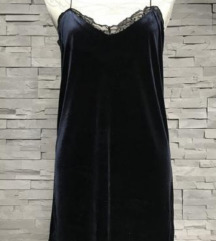 Tamno plava slip haljina