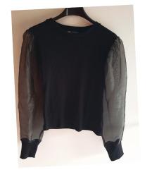 Zara crna majica s prozirnim rukavima