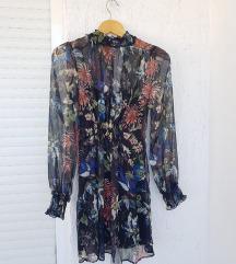 ZARA mesh cvjetna haljina dugih rukava
