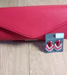 Crvena torbica i naušnice lot