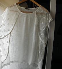 Široka bijela boho majica top sa čipkom oversized