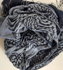 Šal pašmina crno plavo sivi