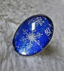 Prsten ''Blue/silver snowflakes'' (ručni rad)