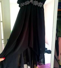 Asimetricna elegantna crna haljina