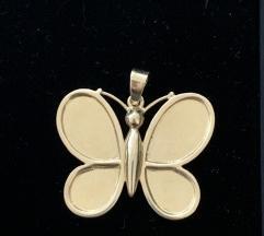 Velik zlatni privjesak leptir