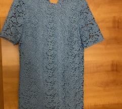 Plava mini čipkana haljina Zara