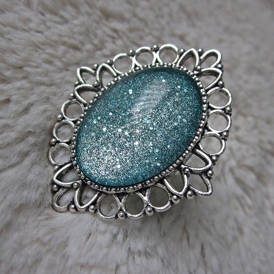 Prsten ''Glitter turquoise'' (ručni rad)