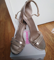 Graceland zlatne sandale na petu
