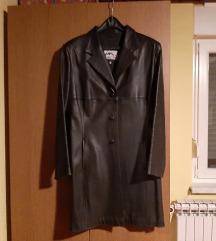 Kožni crni mantil/ jakna vel 42