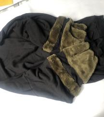 Nova crna haljina s krznenim rukavima