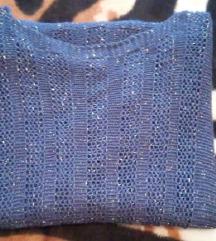 Plavi pulover - vesta sa šljokicama