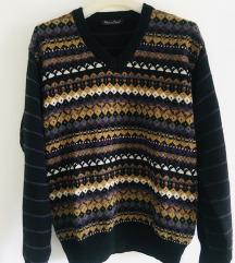 Šareni vuneni džemper vel M-L
