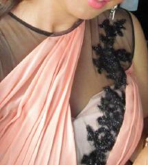Svečana koraljno crna čipkana haljina