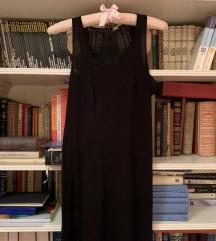 H&M maxi duga crna haljina s čipkom