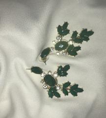 Smaragdno zelene nausnice s cirkonima i pozlatom