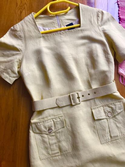 SIXTH SENSE lanena poslovna haljina