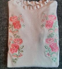 Orsay roza majica sa izvezenim cvijecem XS/S