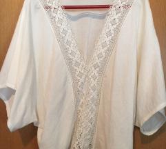 ZARA bijeli kimono top s čipkom