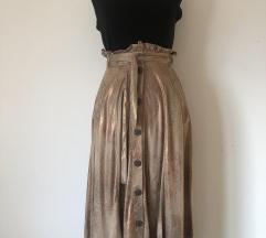 Zara metalik bakrena suknja
