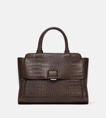 Zara smeđa torba s krokodilskim uzorkom