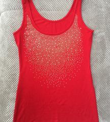 Crvena majica sa zlatnim detaljima, kao novo, s/m