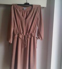 H&M nude peplum haljinica / tunika S/M