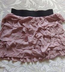 Zara suknja s volanima prljavo roze boje S/M
