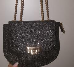 Crna torbica sa šljokicama