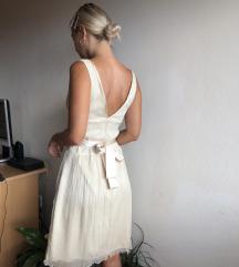 Beige svečana midi haljina
