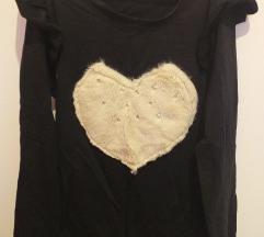 Nova majica sa krznenim srcem i biserima