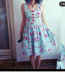 Retro pin up haljina s ružama