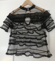 Crna prozirna bluza