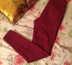 Zara, high waist, slim bordo hlače