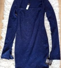 Šljokasta plava uska haljina