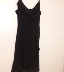 Zara crna haljina na volane