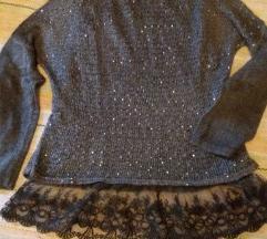 Svjetlucavi pulover s čipkom