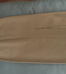 Oker/konjak duza pencil suknja s rasporom